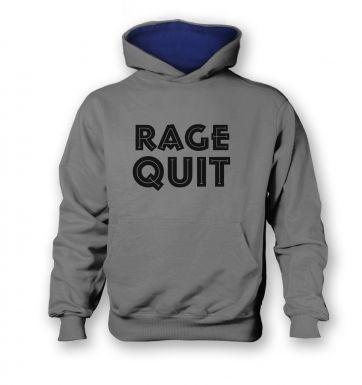 Rage Quit   kids hoodie (contrast)