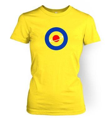 Red Saturn Blue Circle women's t-shirt