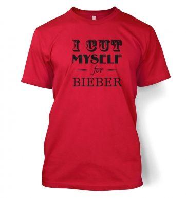 slogan I cut myself for bieber  t-shirt