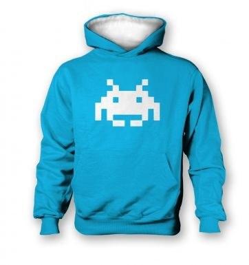 Alien Invader Pixel Art   kids hoodie (contrast)
