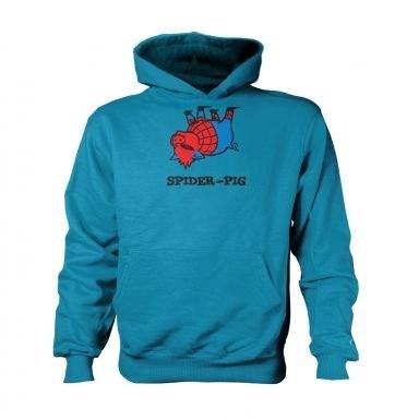Spider Pig   kids hoodie (contrast)