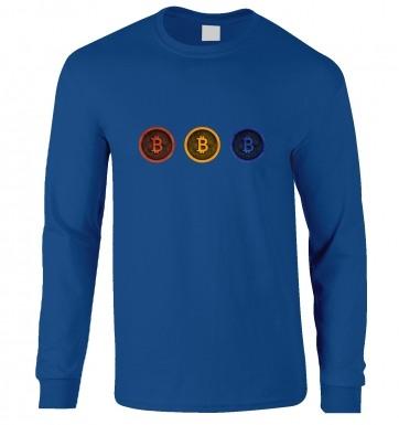 Three Bitcoins Row long-sleeved t-shirt