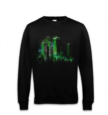 UFO Contact Green Flying Saucer Sweatshirt