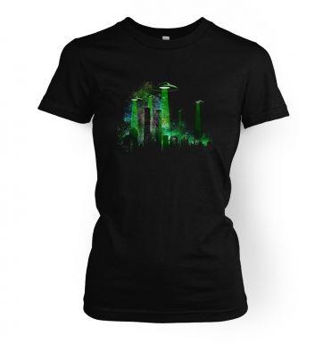 UFO Contact Green Flying Saucer  womens t-shirt