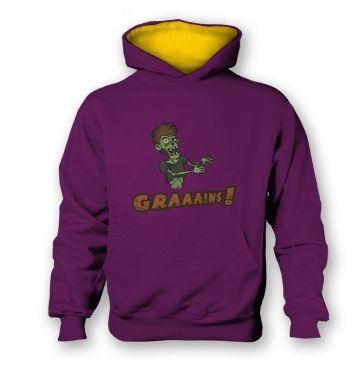 Veggie Zombie   kids hoodie (contrast)
