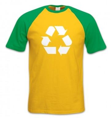 White Recycling Symbol short-sleeved baseball t-shirt